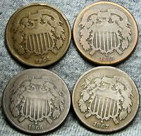 1864 1865 1866 1867 TWO CENT PIECES 2CP ---  TYPE COIN LOT --- A163