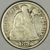 1876-CC SEATED DIME TYPE 2 - FULL BOLD LIBERTY F/VF - CLEANED BUT PRICED RIGHT