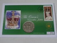 THE QUEEN'S CORONATION JUBILEE FIVE POUNDS GUERNSEY COIN FIRST DAY COVER MERCURY