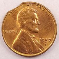 1957 D LINCOLN WHEAT CENT PENNY W/ CLIPPED PLANCHET MINT ERROR