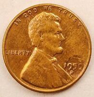 1959 D LINCOLN MEMORIAL CENT PENNY W/ OBVERSE STRUCK THROUGH GREASE MINT ERROR