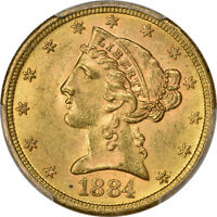 1884 S PCGS MS 63 LIBERTY HEAD HALF EAGLE $5   TYPE 2 WITH MOTTO