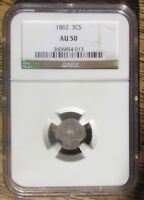 1862 US SILVER 3 CENT COIN GRADED AU50 NGC CIVIL WAR COIN BEAUTIFUL CONDITION