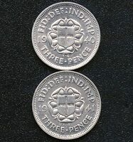 1940 & 1941 GREAT BRITAIN 3 PENCE SILVER COINS  1.4138 GRAMS .500 SILVER EACH