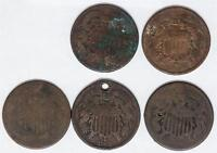 5 PIECES SHIELD TWO CENT COINS DAMAGED GREAT FOR JEWELRY LEATHER ITEM PROJECTS