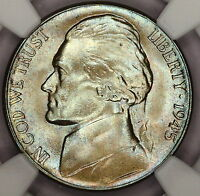 1945 S JEFFERSON WAR NICKEL NGC MS67  WOW ICE BLUE RAINBOW COLOR TONED  V8