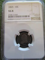 1825 CAPPED BUST DIME NGC VG8 PHILADELPHIA MINT 10 CENT SILVER COIN  GOOD 8