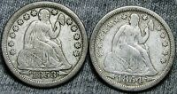 1853 1854-O SEATED LIBERTY DIMES --- STUNNING TYPE COINS LOT ---  N722
