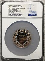 2017 1911 CANADA 2 OZ SILVER GILT SMALL LEAVES LEGACY OF THE PENNY CENT PF69 NGC