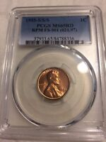 1955 S/S/S LINCOLN CENT PCGS MS 65 RD RPM FS 501