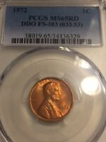 1972 DOUBLED DIE OBVERSE  3  FS 103  LINCOLN CENT   PCGS MS 65 RD    EDS