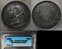 Click now to see the BUY IT NOW Price! ELITE COINS   NEWFOUNDLAND 50 CENTS 1880   AU50 BOOK $6000  LX123
