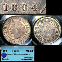 Click now to see the BUY IT NOW Price! XMAS SALE CANADA LARGE CENT   1894   REPUNCHED 9   MS64  N100C