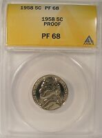1958 JEFFERSON NICKEL ANACS PF 68 PR 68 NO SPOTTING BEAUTIFUL COIN