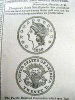 1850 NEWSPAPER W IMAGE THE NEW TWENTY DOLLAR LIBERTY HEAD DOUBLE EAGLE GOLD COIN