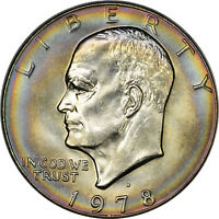 1978 D EISENHOWER IKE DOLLAR ANACS MS 67 BULLSEYE TONED BEAUTY TOP POP