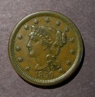 1856 BRAIDED HAIR LARGE CENT N 1 R.1 SLANTED 5  VF  ORIGINAL COPPER PENNY