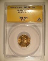 1959 D/D/D LINCOLN CENT FS 501  022.5  ANACS MS 64 RED LUSTROUS NO ISSUES