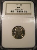 1941 JEFFERSON NICKEL NGC MS 67 HIGH GRADE BEAUTY  ONLY 2 GRADED HIGHER.