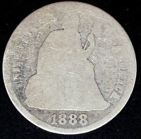 USA 1888-S LEGEND OBVERSE SEATED DIME GOOD