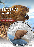 2015 CANADA $20 1 OZ. 99 99   FINE SILVER COLOURED COIN  BEAVER AT WORK