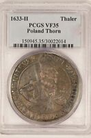 POLAND 1633 H THALER CITY OF THORN  PCGS VF35   LY   ORIGINAL.
