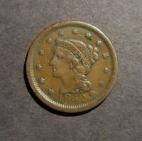 1852 BRAIDED HAIR LARGE CENT FINE DETAILS COPPER PENNY YOU GRADE
