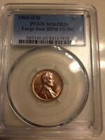 1960 D/D LINCOLN MEMORIAL CENT LARGE DATE RPM VARIETY FS 502 MS65 RED PCGS