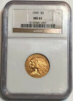 1909 $5 GOLD INDIAN HEAD HALF EAGLE NGC MS 61