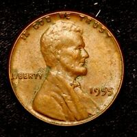 1955 P    BETTER GRADE    COPPER LINCOLN WHEAT CENT PENNY OLD US COIN  H87