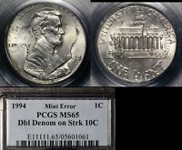 Click now to see the BUY IT NOW Price! USA ERROR   1C STRUCK ON 10C DOUBLE DENOMINATION   1994 PCGS MS65  O012C