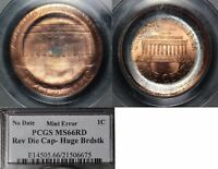 USA ERROR   LINCOLN CENT REVERSE DIE CAP   PCGS MS66  O024C