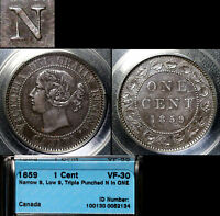 XMAS SALE CANADA LARGE CENT   1859 TRIPLE PUNCHED N IN ONE   VF30  N021C