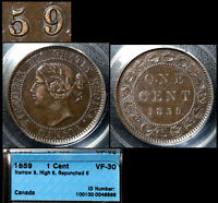 XMAS SALE CANADA LARGE CENT   1859 REPUNCHED 5   HAXBY J11   VF30  N018C