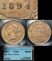 XMAS SALE CANADA LARGE CENT   1894   THICK 4   MS60  N103C
