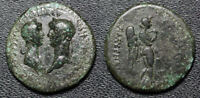 ANCIENT  NERO & AGRIPPINA JR IONIA SMYRNA 54 68AD AE 19MM NEMESIS  E016