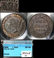 XMAS SALE CANADA LARGE CENT   1859 WIDE 9/8 TRIPLE PUNCHED G   EF45  N004C