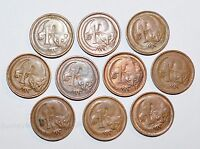 1967   1989 AUSTRALIA 1 CENT FEATHER TAILED GLIDER OPOSSUM LOT ANIMAL COINS