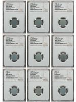 UNIQUE 1943 LINCOLN CENT 9 PIECE SET OF EXPERIMENTAL BLANKS AND PLANCHETS NGC