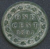1891  LARGE DATE LARGE LEAVES  CANADA LARGE 1 CENT COIN
