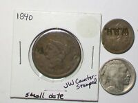 COUNTER STAMPED SET OF 3 OLD COINS  >1840 LARGE CENT   1865 IHC   & 1923 BUFFALO