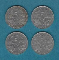 MJSTAMPSHOBBY 1929 1931 1932 1936 CANADA 5 CENTS GEORGE V NICE COLLECTION