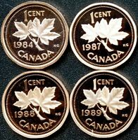 CANADA 1984 1987 1988 & 1989 PROOF 1 CENT COINS