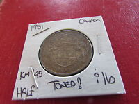 1951 CANADA 50 CENT HALF DOLLAR COIN COLOR TONED KM 45