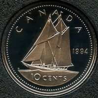 1994 CANADA FROSTED PROOF 10 CENT COIN