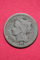 LOW GRADE 1865 THREE 3 CENT LIBERTY NICKEL EXACT COIN FLAT RATE SHIPPING OCE 330