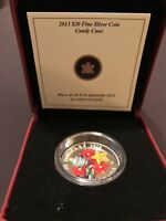 2013 $20 CANADA VENETIAN MURANO GLASS CANDY CANE 1 OZ PURE SILVER PROOF