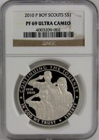 2010 P BOY SCOUTS PROOF COMMEMORATIVE SILVER DOLLAR NGC PF69 ULTRA CAMEO