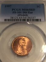1997 LINCOLN PCGS MS 65 RD FS 101 RD 1C DOUBLED DIE OBVERSE DOUBLE EAR