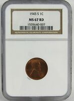 1945-S LINCOLN CENT NGC MINT STATE 67RD